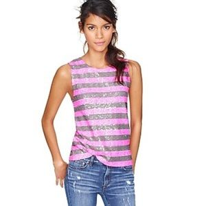 J crew sequin stripe pink taupe shell tank top